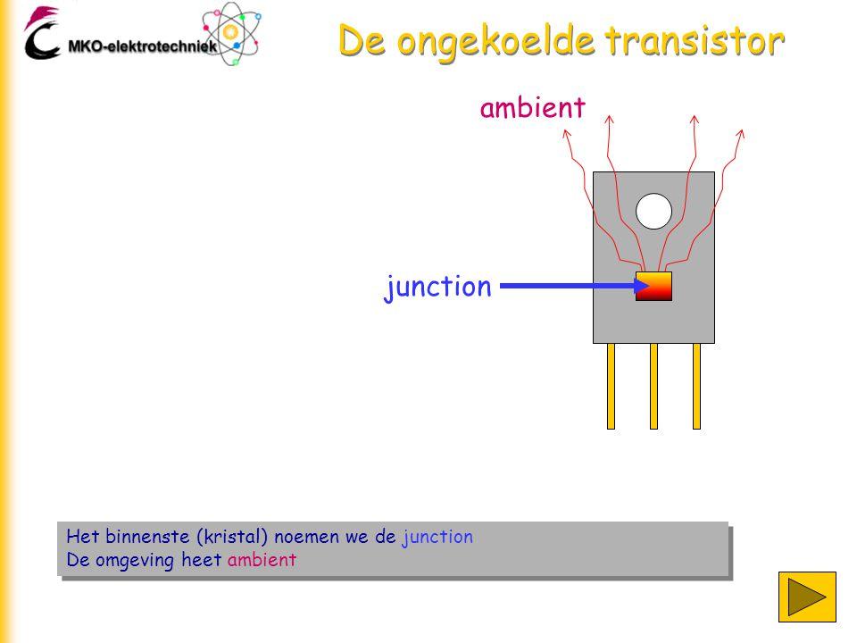 De ongekoelde transistor Het binnenste (kristal) noemen we de junction De omgeving heet ambient Het binnenste (kristal) noemen we de junction De omgeving heet ambient junction ambient
