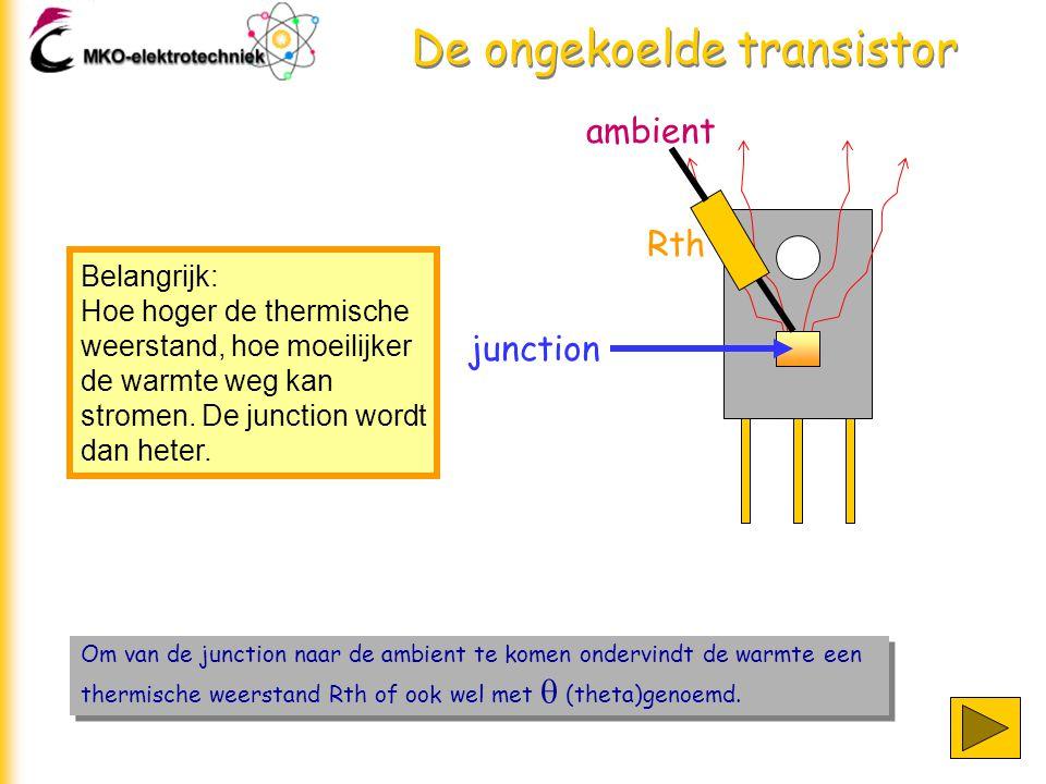De ongekoelde transistor Om van de junction naar de ambient te komen ondervindt de warmte een thermische weerstand Rth of ook wel met  (theta)genoemd.