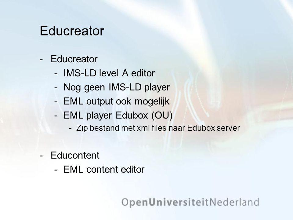 Educreator Educreator IMS-LD level A editor Nog geen IMS-LD player EML output ook mogelijk EML player Edubox (OU) Zip bestand met xml files naar