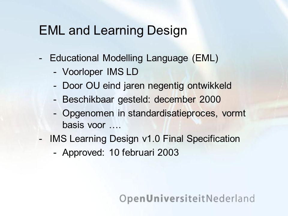 EML and Learning Design Educational Modelling Language (EML) Voorloper IMS LD Door OU eind jaren negentig ontwikkeld Beschikbaar gesteld: december