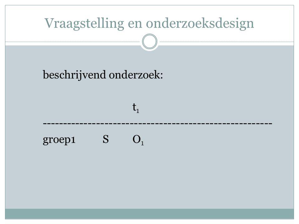 Vraagstelling en onderzoeksdesign beschrijvend onderzoek: t 1 ------------------------------------------------------- groep1SO 1