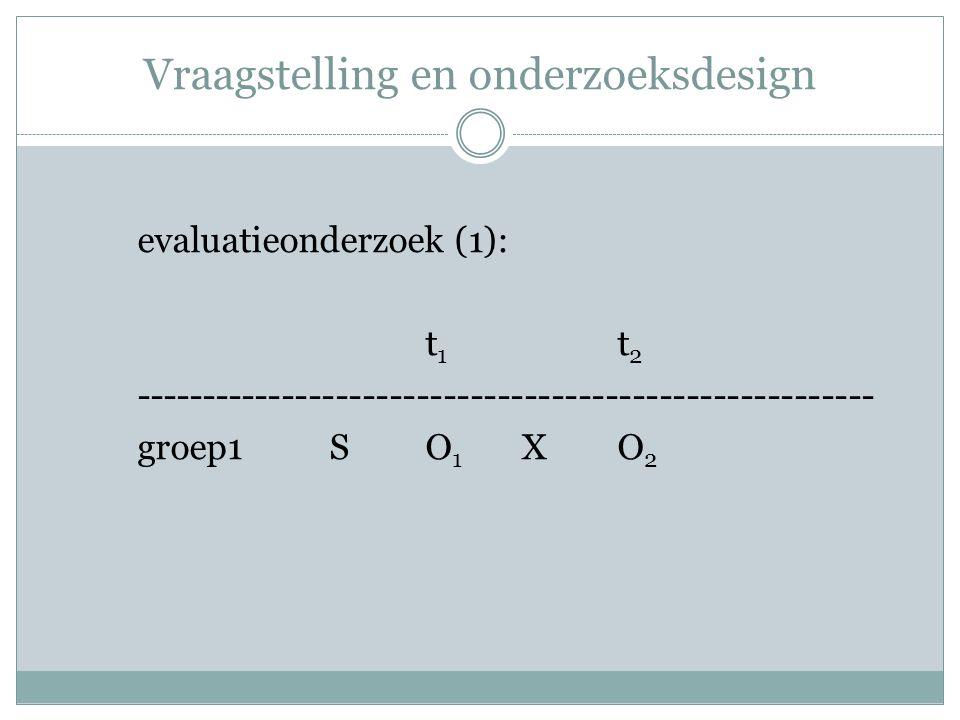 Vraagstelling en onderzoeksdesign evaluatieonderzoek (1): t 1 t 2 ------------------------------------------------------- groep1SO 1 XO 2