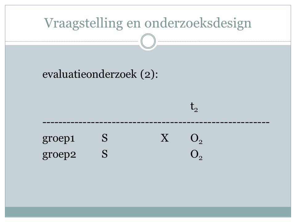 Vraagstelling en onderzoeksdesign evaluatieonderzoek (2): t 2 ------------------------------------------------------- groep1SXO 2 groep2SO 2