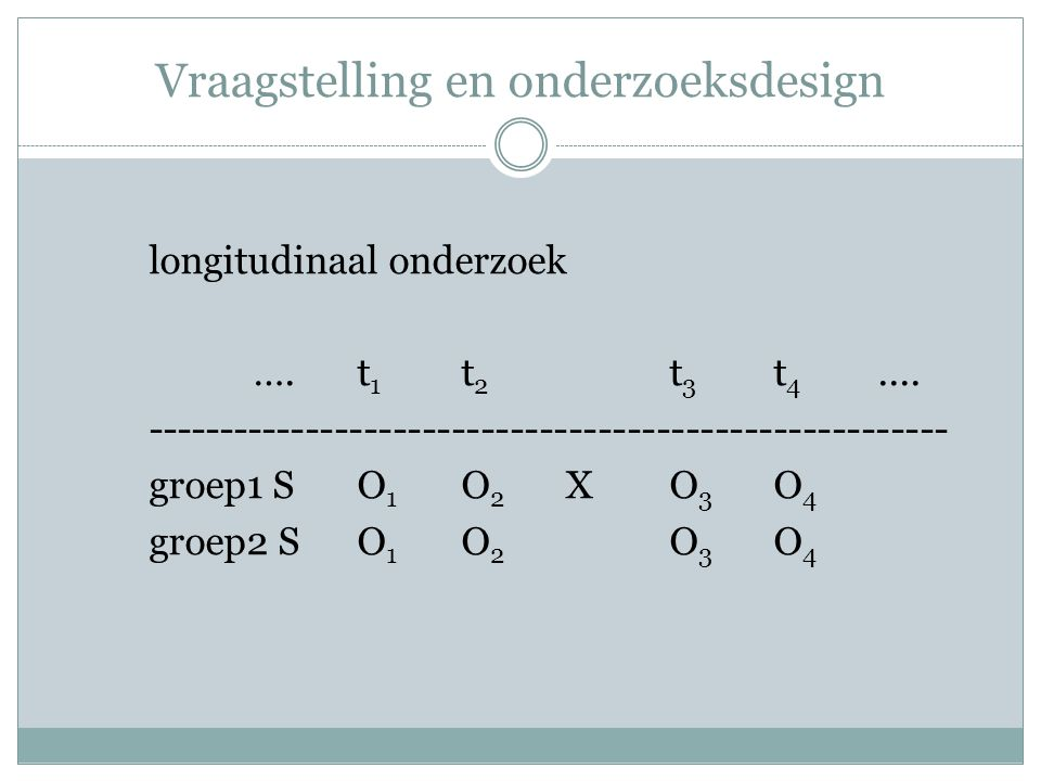 Vraagstelling en onderzoeksdesign longitudinaal onderzoek ….t 1 t 2 t 3 t 4.... ------------------------------------------------------- groep1 SO 1 O