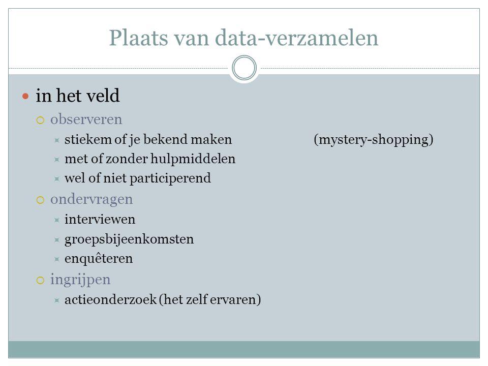 Plaats van data-verzamelen in het veld  observeren  stiekem of je bekend maken(mystery-shopping)  met of zonder hulpmiddelen  wel of niet particip