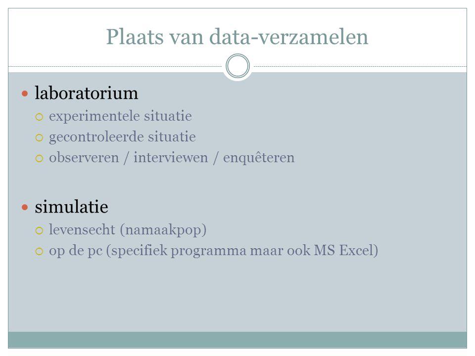 Plaats van data-verzamelen laboratorium  experimentele situatie  gecontroleerde situatie  observeren / interviewen / enquêteren simulatie  levensecht (namaakpop)  op de pc (specifiek programma maar ook MS Excel)