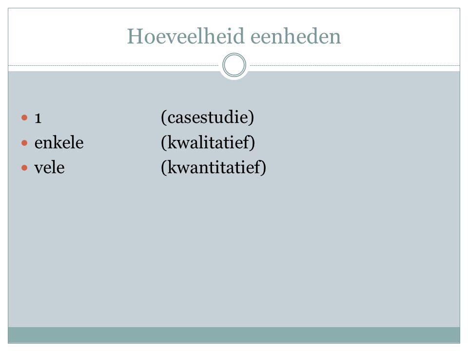 Hoeveelheid eenheden 1(casestudie) enkele(kwalitatief) vele(kwantitatief)