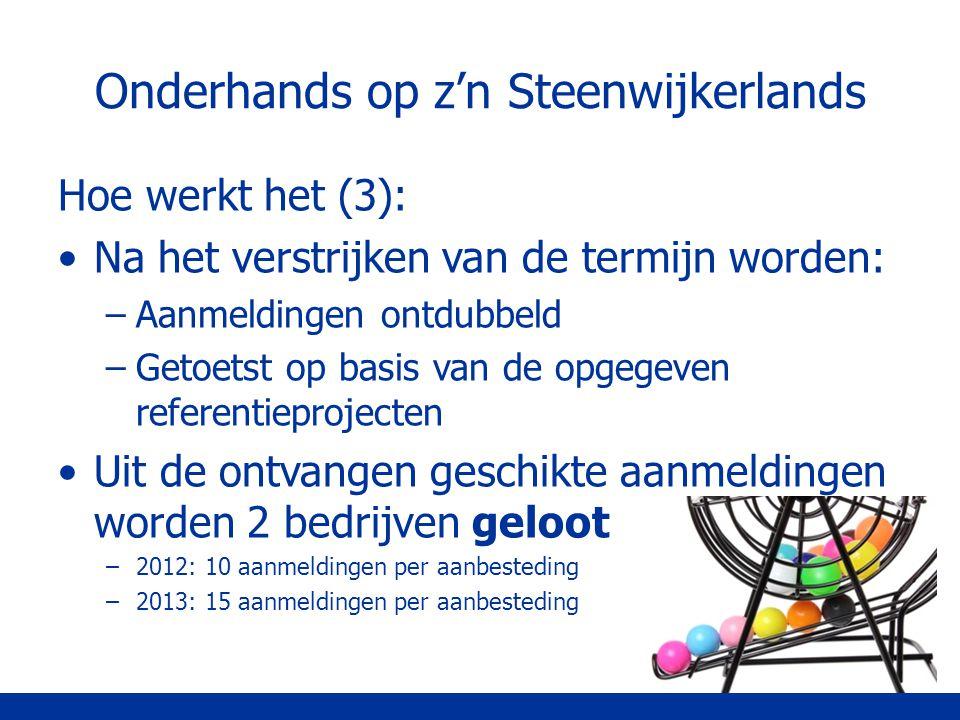 Onderhands op z'n Steenwijkerlands Hoe werkt het (3): Na het verstrijken van de termijn worden: –Aanmeldingen ontdubbeld –Getoetst op basis van de opg