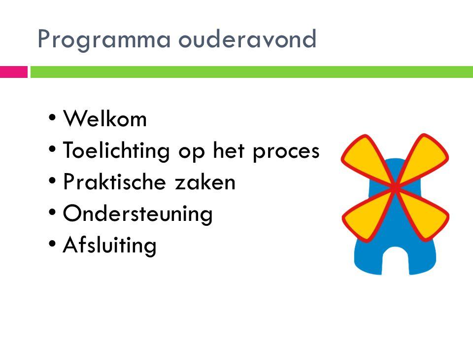 Programma ouderavond Welkom Toelichting op het proces Praktische zaken Ondersteuning Afsluiting