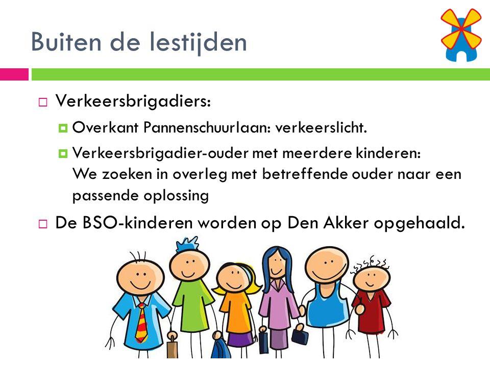 Buiten de lestijden  Verkeersbrigadiers:  Overkant Pannenschuurlaan: verkeerslicht.  Verkeersbrigadier-ouder met meerdere kinderen: We zoeken in ov