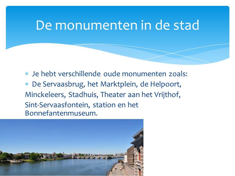  Je hebt verschillende oude monumenten zoals:  De Servaasbrug, het Marktplein, de Helpoort, Minckeleers, Stadhuis, Theater aan het Vrijthof, Sint-Servaasfontein, station en het Bonnefantenmuseum.
