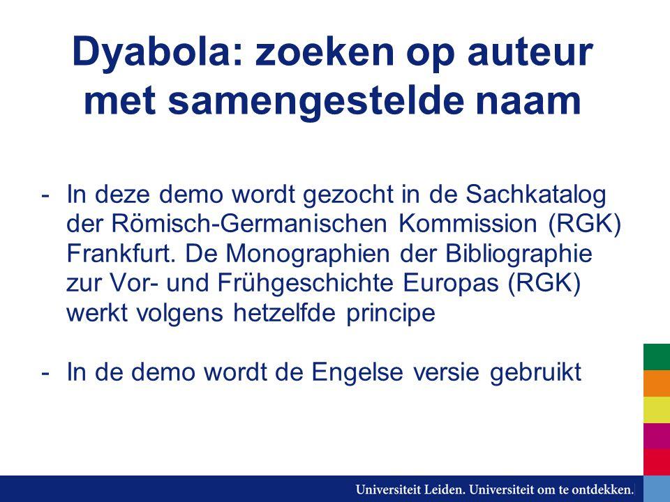 Dyabola: zoeken op auteur met samengestelde naam -In deze demo wordt gezocht in de Sachkatalog der Römisch-Germanischen Kommission (RGK) Frankfurt.