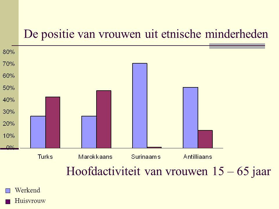 De positie van vrouwen uit etnische minderheden Hoofdactiviteit van vrouwen 15 – 65 jaar Werkend Huisvrouw