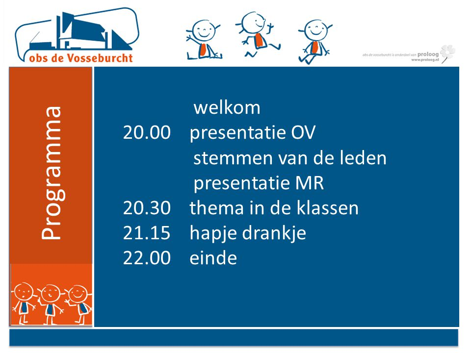 welkom 20.00 presentatie OV stemmen van de leden presentatie MR 20.30 thema in de klassen 21.15 hapje drankje 22.00 einde Programma