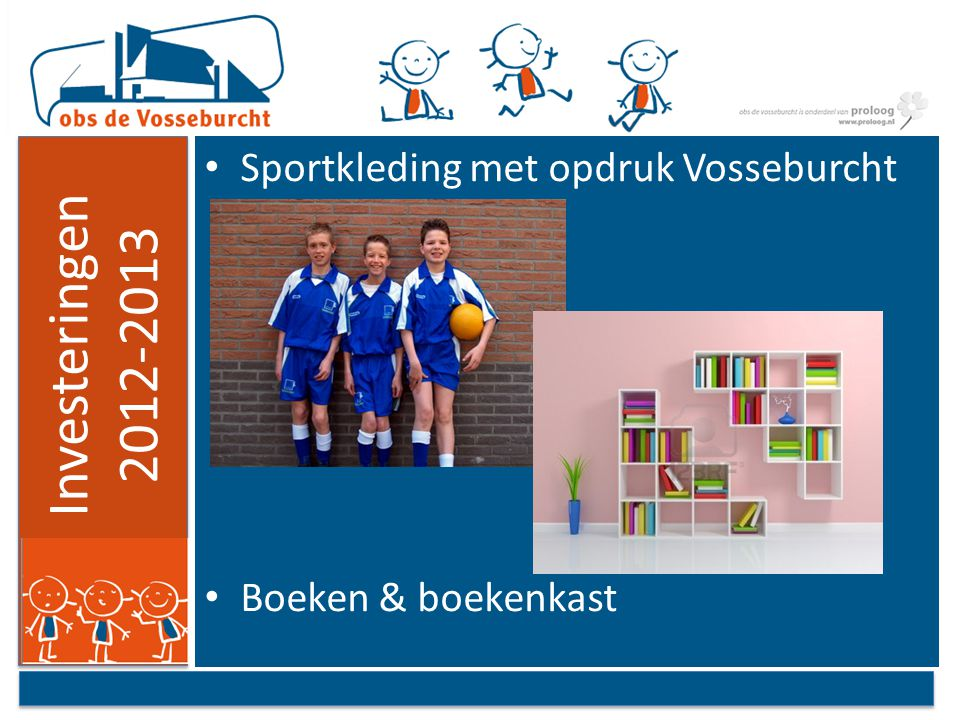 Investeringen 2012-2013 Sportkleding met opdruk Vosseburcht Boeken & boekenkast
