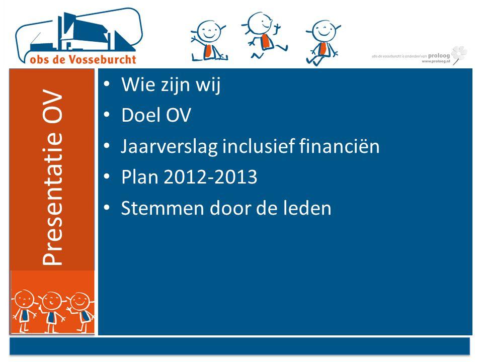 Presentatie OV Wie zijn wij Doel OV Jaarverslag inclusief financiën Plan 2012-2013 Stemmen door de leden