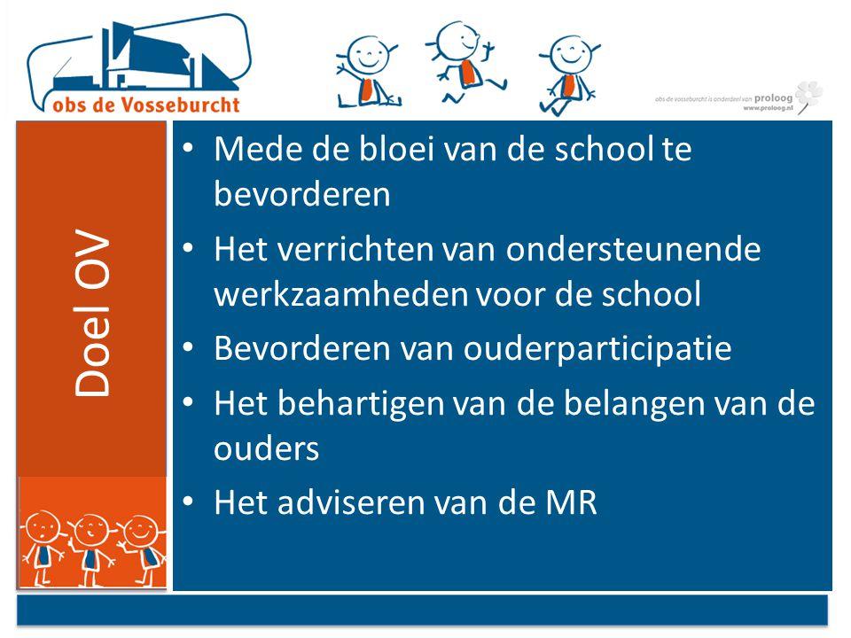Doel OV Mede de bloei van de school te bevorderen Het verrichten van ondersteunende werkzaamheden voor de school Bevorderen van ouderparticipatie Het