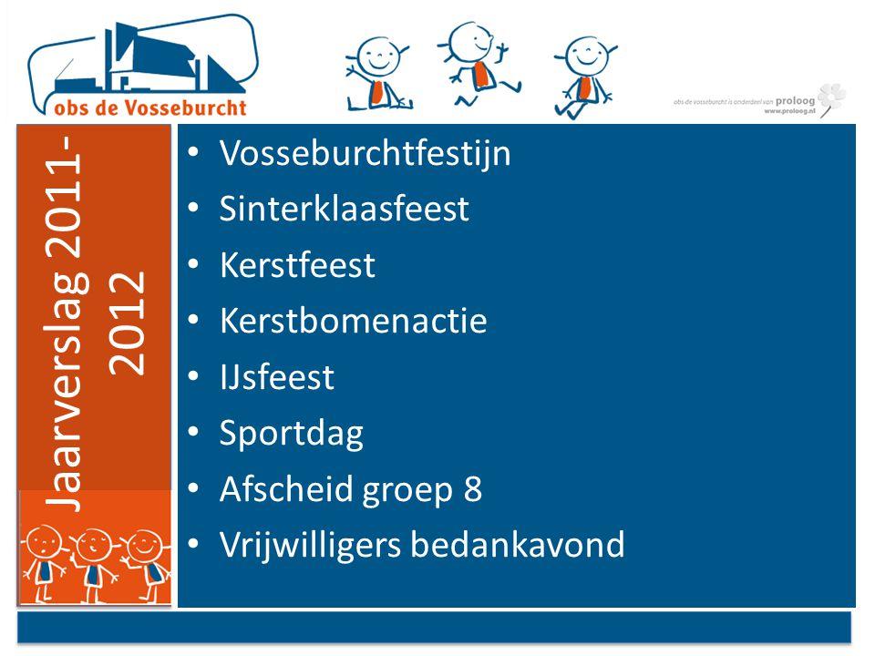 Jaarverslag 2011- 2012 Vosseburchtfestijn Sinterklaasfeest Kerstfeest Kerstbomenactie IJsfeest Sportdag Afscheid groep 8 Vrijwilligers bedankavond