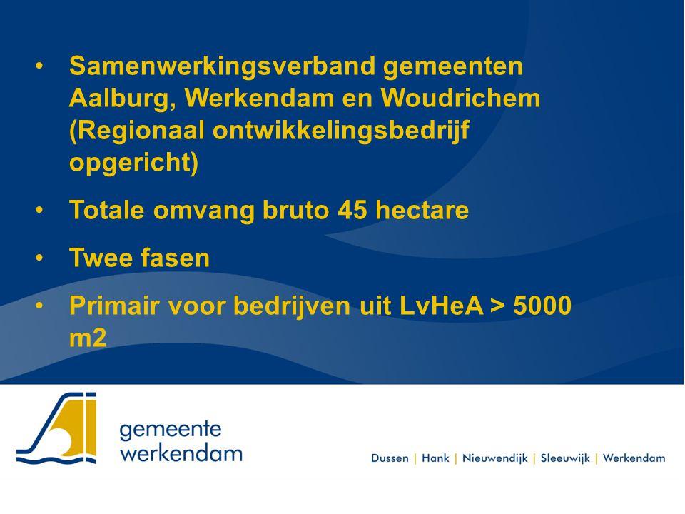 Samenwerkingsverband gemeenten Aalburg, Werkendam en Woudrichem (Regionaal ontwikkelingsbedrijf opgericht) Totale omvang bruto 45 hectare Twee fasen P