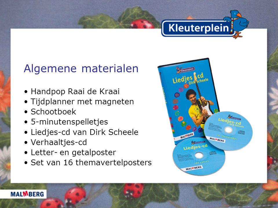 Algemene materialen Handpop Raai de Kraai Tijdplanner met magneten Schootboek 5-minutenspelletjes Liedjes-cd van Dirk Scheele Verhaaltjes-cd Letter- en getalposter Set van 16 themavertelposters