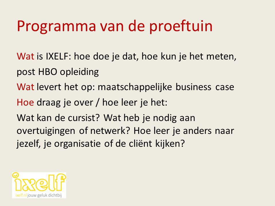 Programma van de proeftuin Wat is IXELF: hoe doe je dat, hoe kun je het meten, post HBO opleiding Wat levert het op: maatschappelijke business case Ho