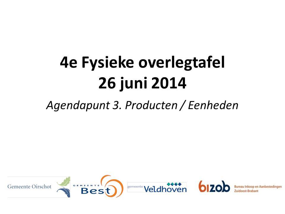 4e Fysieke overlegtafel 26 juni 2014 Agendapunt 3. Producten / Eenheden