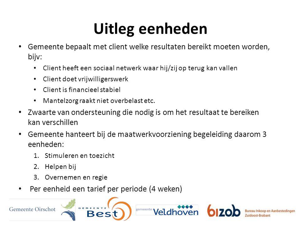Uitleg eenheden Gemeente bepaalt met client welke resultaten bereikt moeten worden, bijv: Client heeft een sociaal netwerk waar hij/zij op terug kan vallen Client doet vrijwilligerswerk Client is financieel stabiel Mantelzorg raakt niet overbelast etc.