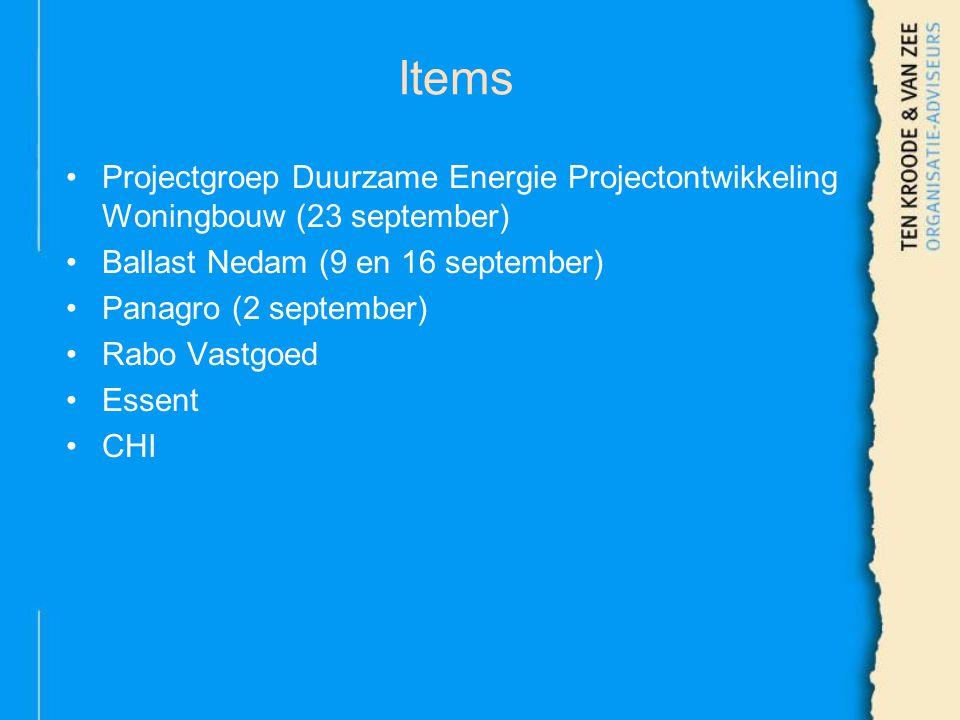 Items Projectgroep Duurzame Energie Projectontwikkeling Woningbouw (23 september) Ballast Nedam (9 en 16 september) Panagro (2 september) Rabo Vastgoed Essent CHI