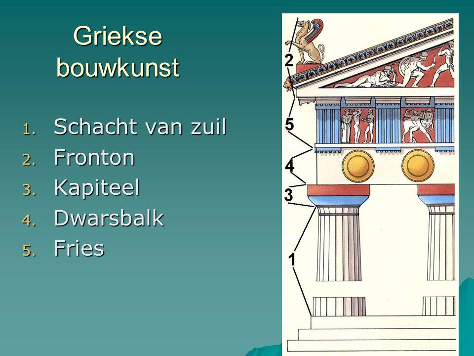 Griekse bouwkunst 1. Schacht van zuil 2. Fronton 3. Kapiteel 4. Dwarsbalk 5. Fries