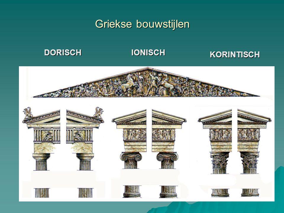 DORISCHIONISCH KORINTISCH basis kapiteel architraaf fries Griekse bouwstijlen