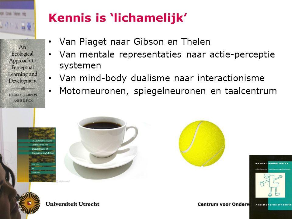 Kennis is 'lichamelijk' Van Piaget naar Gibson en Thelen Van mentale representaties naar actie-perceptie systemen Van mind-body dualisme naar interactionisme Motorneuronen, spiegelneuronen en taalcentrum