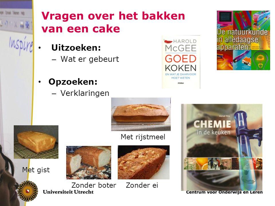 Vragen over het bakken van een cake Uitzoeken: – Wat er gebeurt Opzoeken: – Verklaringen Met gist Zonder boterZonder ei Met rijstmeel
