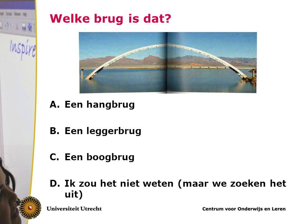 Welke brug is dat? A.Een hangbrug B.Een leggerbrug C.Een boogbrug D.Ik zou het niet weten (maar we zoeken het uit)