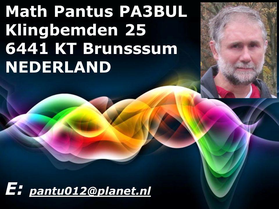 Free Powerpoint Templates Page 2 Free Powerpoint Templates Math Pantus PA3BUL Klingbemden 25 6441 KT Brunsssum NEDERLAND E: pantu012@planet.nl