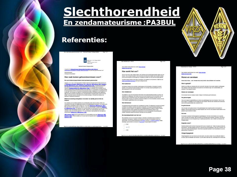 Free Powerpoint Templates Page 38 Slechthorendheid En zendamateurisme :PA3BUL Referenties:
