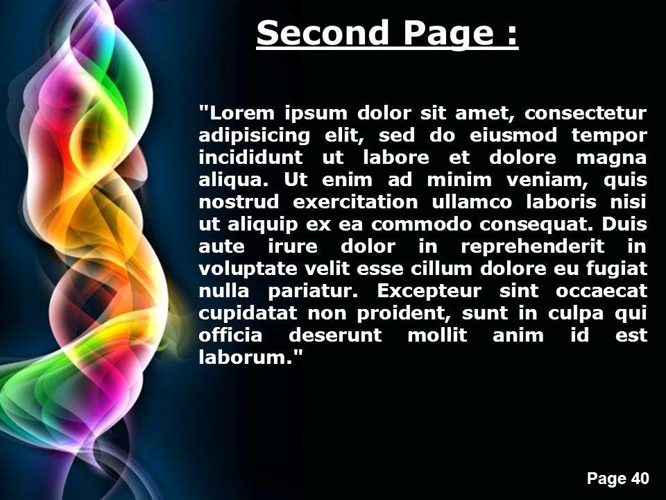 Free Powerpoint Templates Page 40 Second Page : Lorem ipsum dolor sit amet, consectetur adipisicing elit, sed do eiusmod tempor incididunt ut labore et dolore magna aliqua.