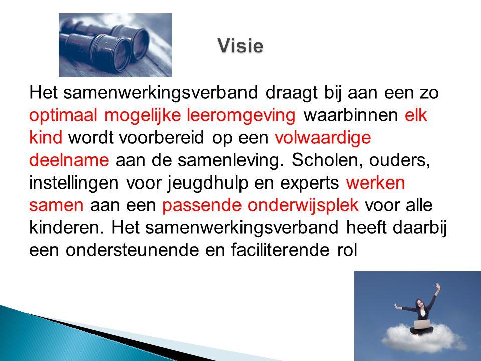  Alle scholen bo en sbo in de gemeenten: Aalburg, Heusden, Loon op Zand en Waalwijk  Scholen voor so uit Tilburg, 's Hertogenbosch en Oisterwijk  Aantal leerlingen (1-10-2013): basisscholen: 10.538 speciaal basisonderwijs: 291 (2,69%) speciaal onderwijs: 134 (1,24%)