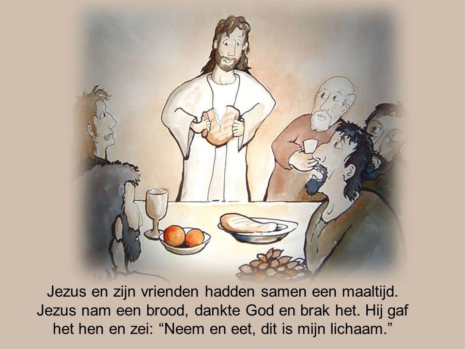 """Jezus en zijn vrienden hadden samen een maaltijd. Jezus nam een brood, dankte God en brak het. Hij gaf het hen en zei: """"Neem en eet, dit is mijn licha"""