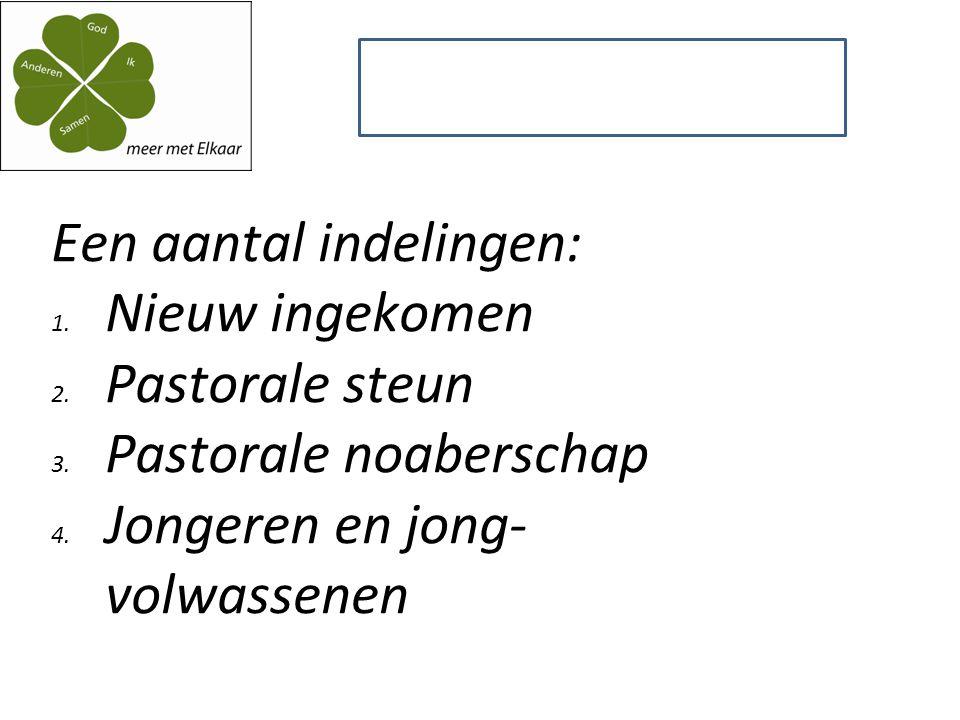 Een aantal indelingen: 1. Nieuw ingekomen 2. Pastorale steun 3.