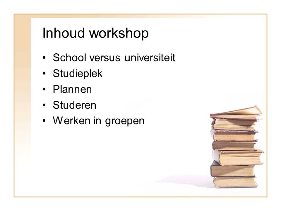 Inhoud workshop School versus universiteit Studieplek Plannen Studeren Werken in groepen