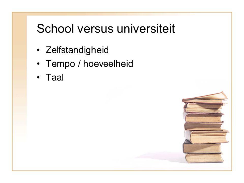 School versus universiteit Zelfstandigheid Tempo / hoeveelheid Taal