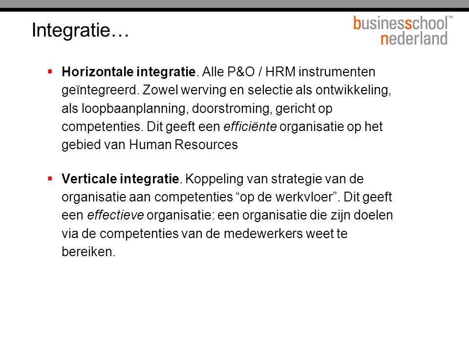Integratie…  Horizontale integratie.Alle P&O / HRM instrumenten geïntegreerd.
