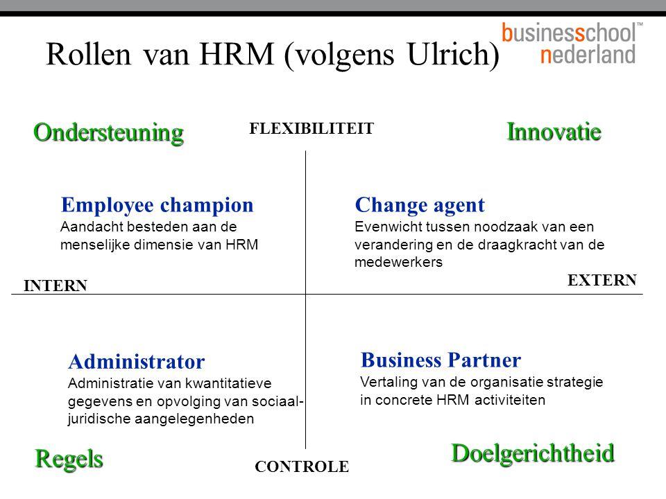 FLEXIBILITEIT CONTROLE INTERN EXTERN Ondersteuning Doelgerichtheid Regels Innovatie Employee champion Aandacht besteden aan de menselijke dimensie van HRM Change agent Evenwicht tussen noodzaak van een verandering en de draagkracht van de medewerkers Administrator Administratie van kwantitatieve gegevens en opvolging van sociaal- juridische aangelegenheden Business Partner Vertaling van de organisatie strategie in concrete HRM activiteiten Rollen van HRM (volgens Ulrich)