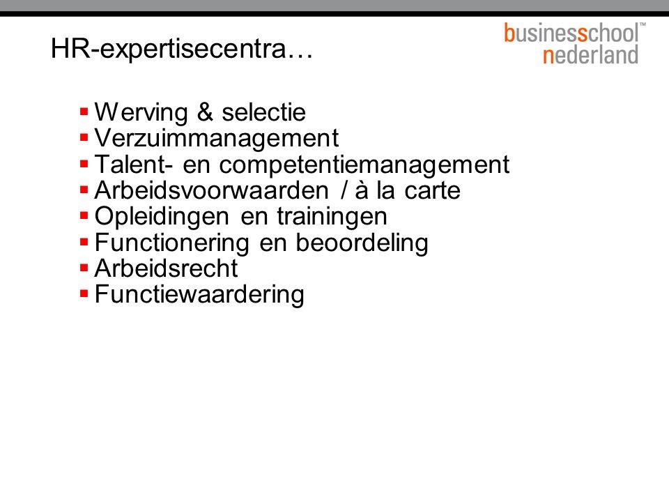 HR-expertisecentra…  Werving & selectie  Verzuimmanagement  Talent- en competentiemanagement  Arbeidsvoorwaarden / à la carte  Opleidingen en trainingen  Functionering en beoordeling  Arbeidsrecht  Functiewaardering