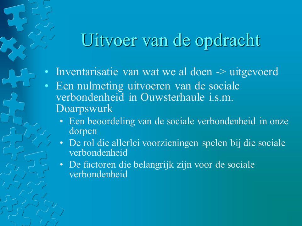 Uitvoer van de opdracht Inventarisatie van wat we al doen -> uitgevoerd Een nulmeting uitvoeren van de sociale verbondenheid in Ouwsterhaule i.s.m.