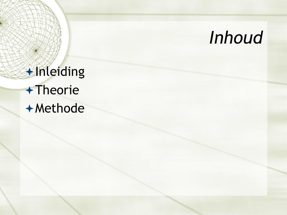 Inhoud  Inleiding  Theorie  Methode
