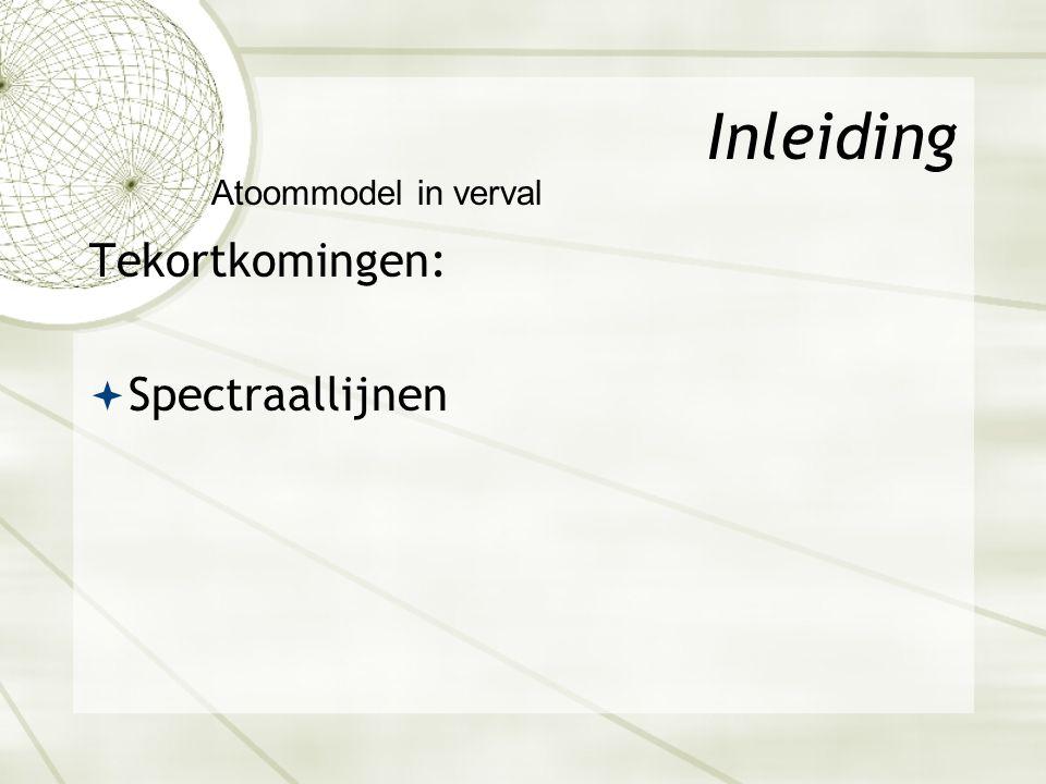 Inleiding Tekortkomingen:  Spectraallijnen Atoommodel in verval