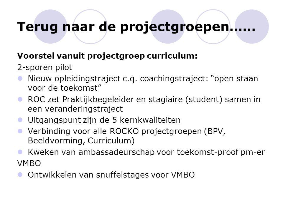 """Terug naar de projectgroepen…… Voorstel vanuit projectgroep curriculum: 2-sporen pilot Nieuw opleidingstraject c.q. coachingstraject: """"open staan voor"""
