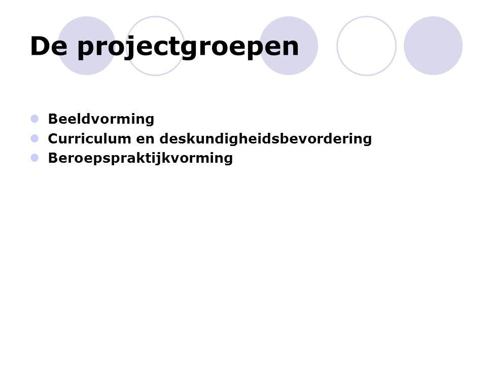 Projectgroepen Gevormd door: (Tactisch niveau) Functionarissen, kwaliteit, P&O, communicatie, pedagogiek, onderwijsarchitect Taken bij start project: Inhoudelijke uitwerking van opdrachten conform projectplan Leveren van eindproducten conform projectplan