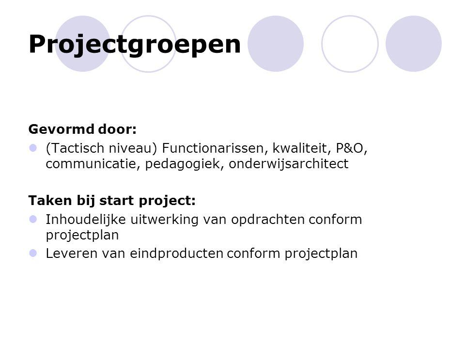 Projectgroepen Gevormd door: (Tactisch niveau) Functionarissen, kwaliteit, P&O, communicatie, pedagogiek, onderwijsarchitect Taken bij start project: